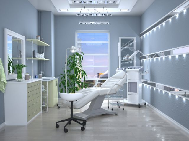 横たわる椅子がある植物やライトがある部屋