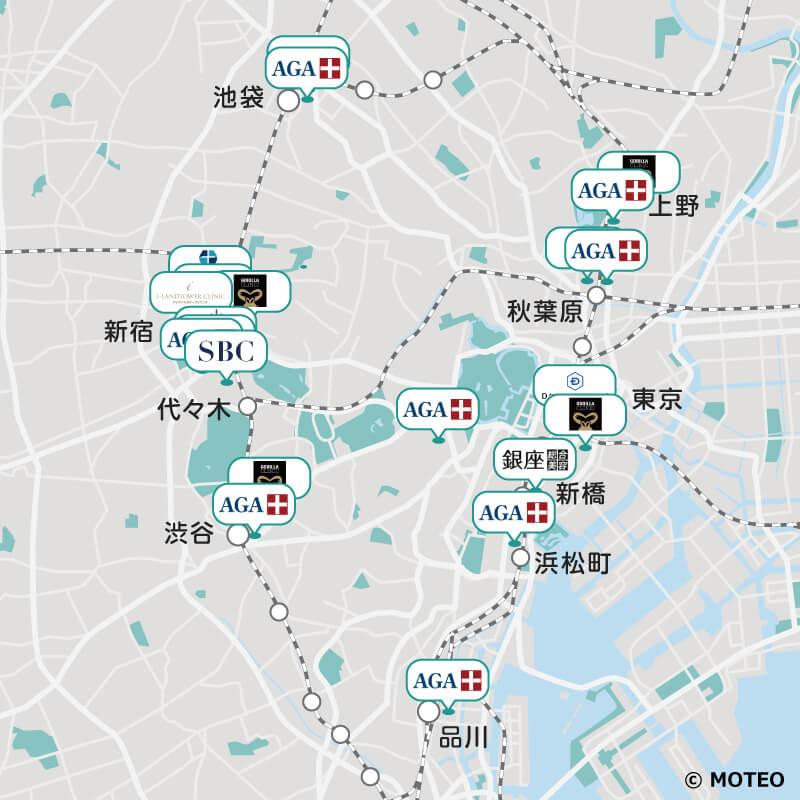 東京でおすすめのAGAクリニック 分布マップ