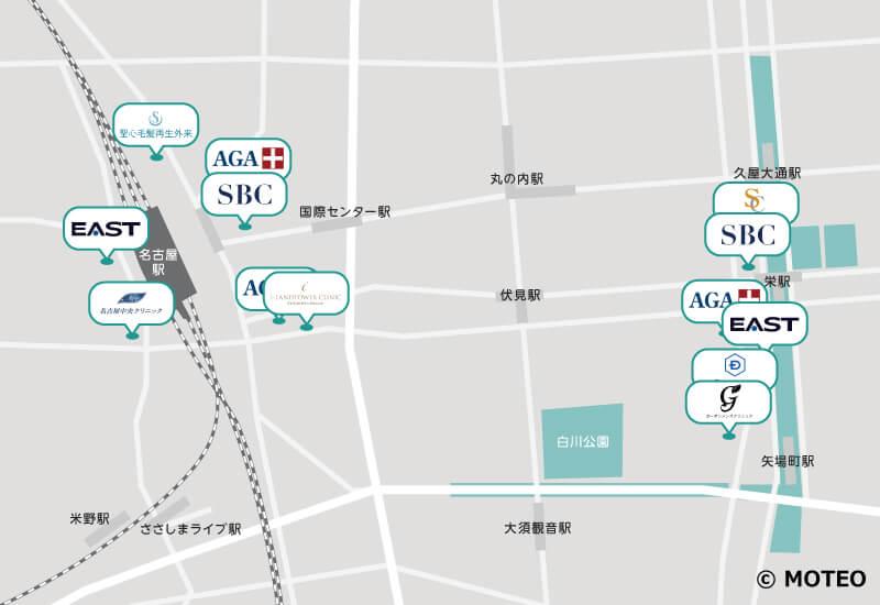 名古屋のAGAクリニック 分布マップ