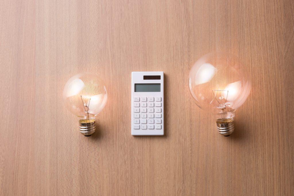 電球と電卓