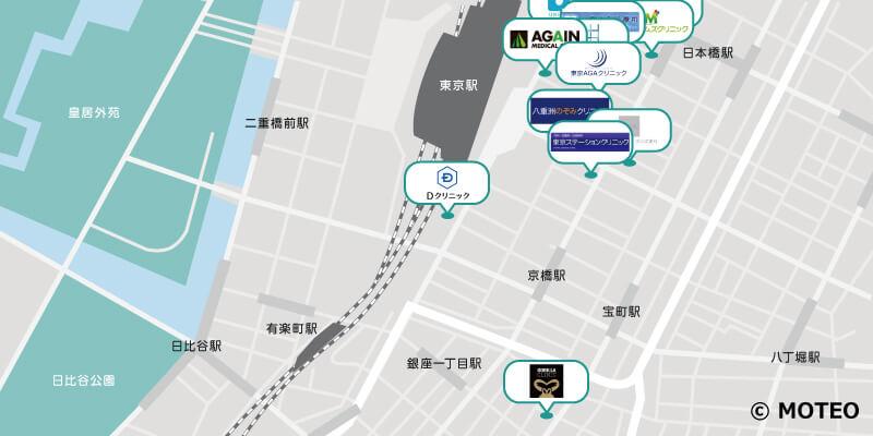 東京駅・豊洲のAGAクリニック 分布マップ