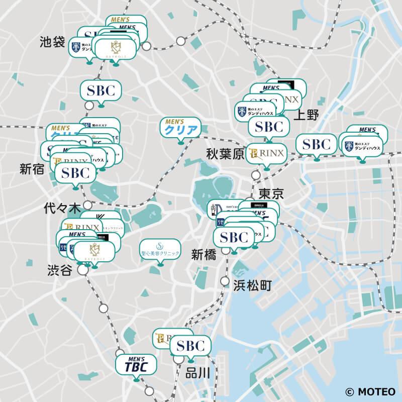 東京エリアのメンズ脱毛サロン・クリニックの分布マップ